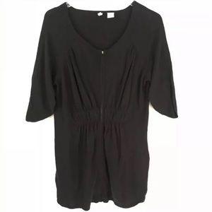 Anthropologie Moth Black Zip Cardigan Sweater Med